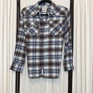 Boys Large Lucky Brand Flannel Button Down Shirt